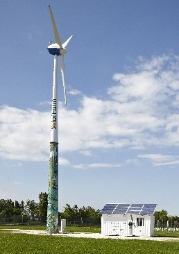 Windturbine photovoltaic hybrid diesel system, off grid, on grid